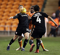 Barnsley&rsquo;s Mike-Steven B&auml;hre controls under pressure from Blackpool's Donervon Daniels<br /> <br /> Photographer Rich Linley/CameraSport<br /> <br /> The EFL Sky Bet League One - Blackpool v Barnsley - Saturday 22nd December 2018 - Bloomfield Road - Blackpool<br /> <br /> World Copyright &copy; 2018 CameraSport. All rights reserved. 43 Linden Ave. Countesthorpe. Leicester. England. LE8 5PG - Tel: +44 (0) 116 277 4147 - admin@camerasport.com - www.camerasport.com