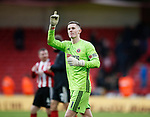 Dean Henderson of Sheffield Utd celebrates during the Premier League match at Bramall Lane, Sheffield. Picture date: 9th February 2020. Picture credit should read: Simon Bellis/Sportimage
