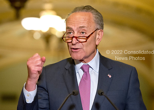 United States Senate Minority Leader Chuck Schumer (Democrat of New York) speaks to reporters following the Democratic Party luncheon in the United States Capitol in Washington, DC on Tuesday, June 27, 2017.<br /> Credit: Ron Sachs / CNP
