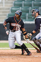 Left fielder Kieron Pope (17) of the Delmarva Shorebirds follows through on his swing versus the Kannapolis Intimidators at Fieldcrest Cannon Stadium in Kannapolis, NC, Wednesday, May 14, 2008.