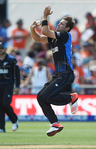 08.03.2015. Napier, New Zealand.  Tim Southee bowling during the ICC Cricket World Cup match between New Zealand and Afghanistan at McLean Park in Napier, New Zealand. Sunday 8 March 2015.