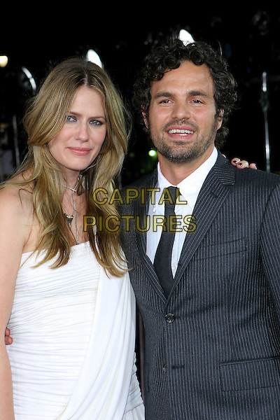 "SUNRISE COIGNEY & MARK RUFFALO.At the Los Angeles Premiere of ""Just Like Heaven"" held at Graumann's Chinese Theatre,.Los Angeles, 8th Septeber 2005.half length white shirt dress pinstripe wife husband couple beard mustache.Ref: ADM/JW.www.capitalpictures.com.sales@capitalpictures.com.© Capital Pictures."