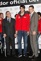Real Madrid player Alvaro Morata (c) and the President Florentino Perez participate and receive new Audi during the presentation of Real Madrid's new cars made by Audi at the Jarama racetrack on November 8, 2012 in Madrid, Spain.(ALTERPHOTOS/Harry S. Stamper) .<br />