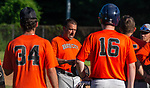 WALLINGFORD, CT-071620JS11—Brass City Bomber coach Tim Belcher talk with his players as their game against the Wallingford Silver Storm  was postponed on Thursday die to COVID-19 concerns at Pat Wall Field  in Wallingford. <br /> Jim Shannon Republican-American