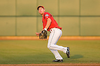 Second baseman Brett Lawrie #13 of Team Canada tracks a fly ball at the USA Baseball National Training Center, September 4, 2009 in Cary, North Carolina.  (Photo by Brian Westerholt / Four Seam Images)