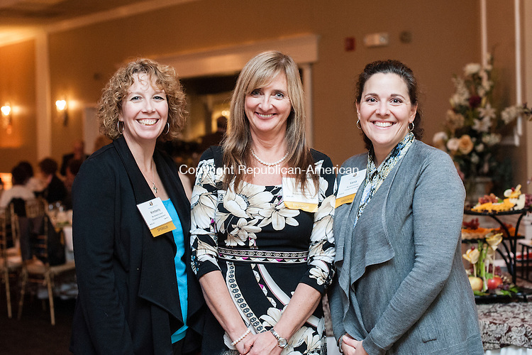 OAKVILLE, CT-12 November 2014-111214EC08-  Social Moments. L to R: Kimberly Lebron, Ilona Blouin and Vania Guerrera with Thomaston Savings Bank. The Watertown-Oakville Chamber of Commerce held it's 50th annual meeting and awards dinner at the Grand Oak Villa in Oakville. Richard DuPont received the Community Leader of the Year award, Theresa Gorman received the Unsung Hero Award and Roma Florist Landscape received the Beautification Award. Erin Covey Republican-American