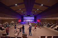 NWA Democrat-Gazette/BEN GOFF @NWABENGOFF<br /> Church members reconfigure the seating in the auditorium on Saturday June 4, 2016 during a ribbon-cutting and 'big reveal' for the newly renovated facility at New Life Christian Church in Bella Vista. The church was opened in 1974 as Bella Vista Christian Church and has undergone several expansions over the years. The church rebranded itself New Life Christian at the beginning of the year and began the renovation project for the auditorium on March 28.
