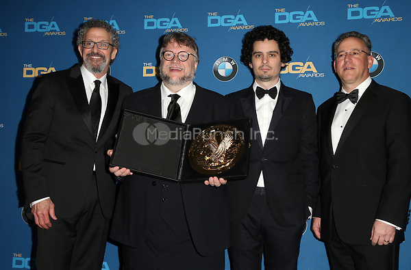 BEVERLY HILLS, CA - FEBRUARY 3: Thomas Schlamme, Guillermo del Toro, Damien Chazelle and Russell Hollander in the press room at the 70th Annual DGA Awards at The Beverly Hilton Hotel in Beverly Hills, California on February 3, 2018. Credit: Faye Sadou/MediaPunch