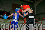Patrick McCarthy in blue, Tralee amateur boxing club gets stuck into Johnny Kennelly, Ballyduff boxing club at the Co Kerry boxing Championships hosted by the Sliabh Luachra boxing club in the NEKD facilities in Castleisland last Saturday afternoon.