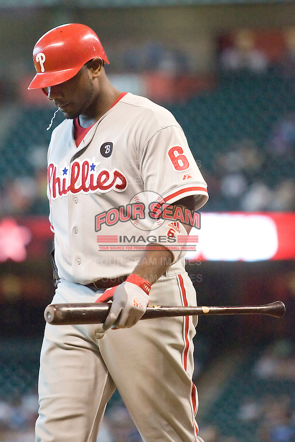Philadelphia Phillies first baseman Ryan Howard #6 after striking out during the Major League Baseball game against the Houston Astros at Minute Maid Park in Houston, Texas on September 14, 2011. Philadelphia defeated Houston 1-0 to clinch a playoff berth.  (Andrew Woolley/Four Seam Images)