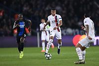 6th November 2019, Paris France; UEFA Champions league football, Paris St German versus Brugges;   07 Kylian MBAPPE psg breaks away from Kimpembe of Bruges