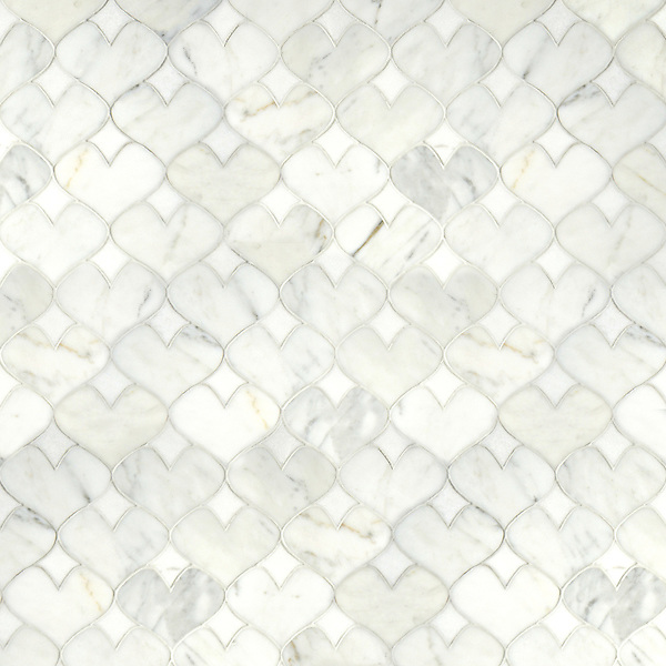 Hearts, a waterjet stone mosaic, shown in polished Calacatta Tia and Thassos, is part of the Erin Adams Collection for New Ravenna Mosaics.