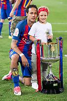 FC Barcelona's forward Neymar Santos Jr with his daughter after Copa del Rey (King's Cup) Final between Deportivo Alaves and FC Barcelona at Vicente Calderon Stadium in Madrid, May 27, 2017. Spain.<br /> (ALTERPHOTOS/BorjaB.Hojas) /NortePhoto.com