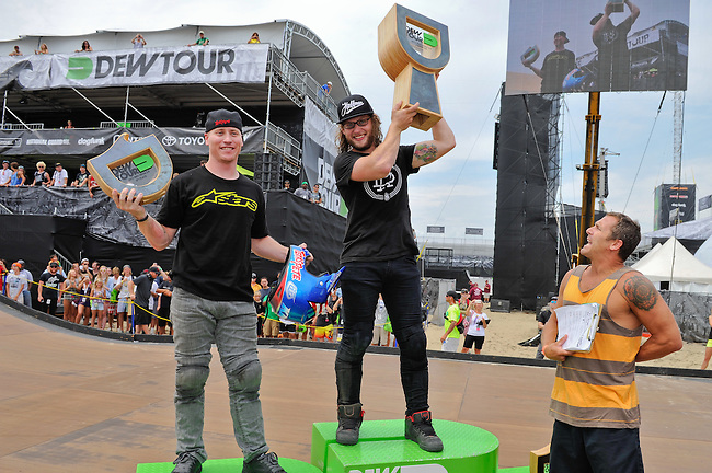 19 August, 2012:  Zachery Warden (center) and Chad Kagy (left)  stand on the podium after the BMX Mega 2.0 final at the Pantech Beach Championships in Ocean City, Md. Vince Byron (not pictured) finished in third but was unable to apper after a Injury.