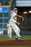 Texas Longhorns relief pitcher Pete Hansen (33) in action against the Arkansas Razorbacks in game six of the 2020 Shriners Hospitals for Children College Classic at Minute Maid Park on February 28, 2020 in Houston, Texas. The Longhorns defeated the Razorbacks 8-7. (Brian Westerholt/Four Seam Images)
