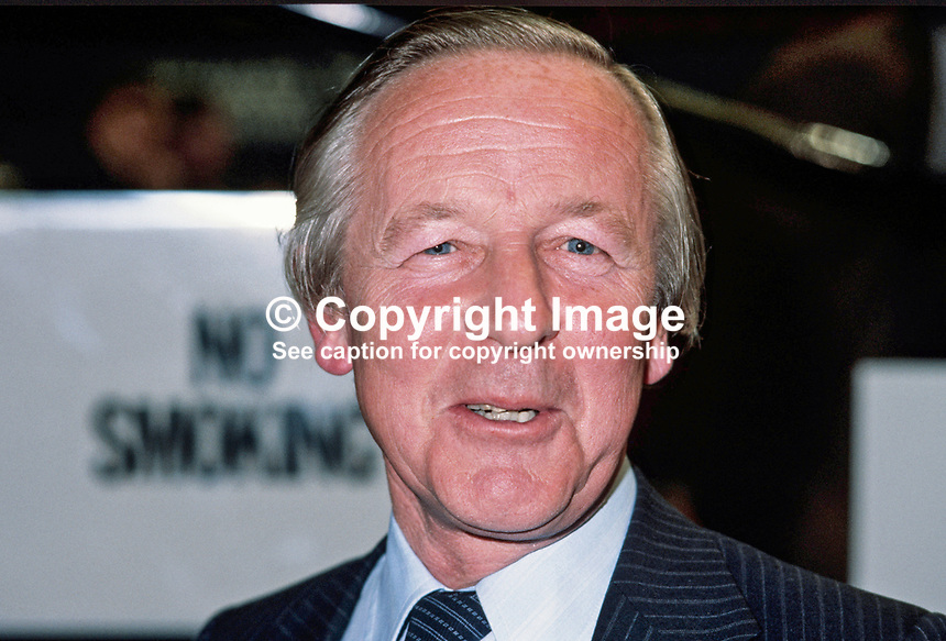 Marcus Fox, MP, Conservative Party, Under Secretary of State, Department of the Environment, UK, 198010000319a.<br /> <br /> Copyright Image from Victor Patterson,<br /> 54 Dorchester Park, <br /> Belfast, UK, BT9 <br /> <br /> t1: +44 28 9066 1296 (from Rep of Ireland 048 90661296)<br /> t2: +44 28 9002 2446 (from Rep of Ireland 048 9002 2446)<br /> <br /> m: +44 7802 353836<br /> <br /> e: victorpatterson@me.com<br /> www.victorpatterson.com<br /> <br /> Please see my Terms and Conditions of Use at www.victorpatterson.com. It is IMPORTANT that you familiarise yourself with them.<br /> <br /> Images used on the Internet must be visibly watermarked i.e. &copy; Victor Patterson<br /> within the body of the image and copyright metadata must not be deleted. Images <br /> used on the Internet have a size restriction of 4kbs and will be chargeable at current<br />  NUJ rates unless agreed otherwise.<br /> <br /> This image is only available for the use of the download recipient i.e. television station, newspaper, magazine, book publisher, etc, and must not be passed on to any third <br /> party. It is also downloaded on condition that each and every usage is notified within 7 days to victorpatterson@me.com<br /> <br /> The right of Victor Patterson to be identified as the author is asserted in accordance with The Copyright Designs And Patents Act (1988). All moral rights are asserted.