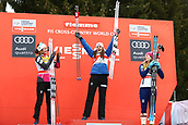 7th January 2018, Val di Fiemme, Fiemme Valley, Italy; FIS Cross Country World Cup, Tour de ski; Ladies 9km F Pursuit; Ingvild Flugstad Oestberg (NOR), Heidi Weng (NOR) Jessica Diggins (USA)on the podium