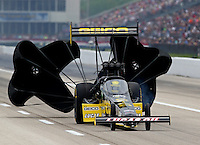 Apr 25, 2014; Baytown, TX, USA; NHRA top fuel dragster driver Richie Crampton during qualifying for the Spring Nationals at Royal Purple Raceway. Mandatory Credit: Mark J. Rebilas-