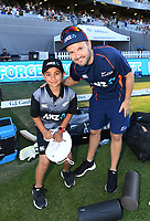 Mike Hesson with ANZ coin toss winner.<br /> New Zealand Black Caps v Australia.Tri-Series International Twenty20 cricket. Eden Park, Auckland, New Zealand. Friday 16 February 2018. &copy; Copyright Photo: Andrew Cornaga / www.Photosport.nz