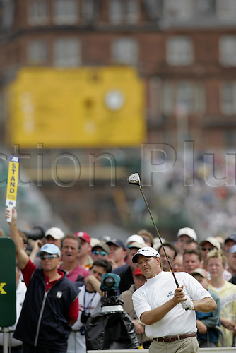 17 July 2005: South African golfer Retief Goosen (RSA) looks into the distance after playing from the 2nd tee during the final round. Goosen shot a 2 over par 74 to be 7 under and finish in a tie for 5th place at the Open Championship, The Old Course at St Andrews, Scotland. Photo: Glyn Kirk/Actionplus....golf player 050717
