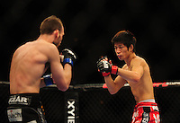 Oct. 29, 2011; Las Vegas, NV, USA; UFC fighter Hatsu Hioki (right) against George Roop during UFC 137 at the Mandalay Bay event center. Mandatory Credit: Mark J. Rebilas-