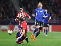 Copenhague's player Peter Ankersen; Atletico Madrid's Uruguayan defender Diego Godin