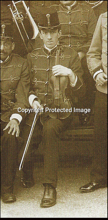 BNPS.co.uk (01202 558833)<br /> Pic: TennysonEkeberg/BNPS<br /> <br /> And the band played on...<br /> <br /> Wallace Hartley.<br /> <br /> The violin played by the bandmaster on the Titanic as the ship was sinking is finally being auctioned for an estimated &pound;400,000.<br /> <br /> The wooden instrument has been proven to be the one used by Wallace Hartley as his band famously played on to help keep the passengers calm during the disaster.<br /> <br /> Its existence and survival only emerged in 2006 when the son of an amateur violinist who was gifted it by her music teacher in the early 1940s contacted an auctioneers.