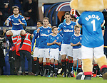 Rangers mascot Kraig Mackay leads out the teams at Ibrox