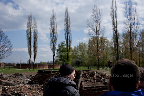 OSWIECIM, POLAND, APRIL 24, 2017:<br /> Elisha Wiesel is reflecting by the ruins of the crematorium, during the &quot;March of The Living&quot; an annual march between two camps of the Auschwitz concentration camp.  Elisha Wiesel is a chief technology officer at Goldman Sachs in New York and the only son of Holocaust memoirist Eli Wiesel. After death of his father he has decided to step forward and take a more public role, carrying on his father's work.<br /> (Photo by Piotr Malecki / Napo Images)<br /> ###<br /> OSWIECIM, 24/04/2017:<br /> Elisha Wiesel, syn slawnego Eli Wiesela, bierze udzial w Marszu Zywych w Oswiecimiu. Po smierci ojca Elisha postanowil kontynuoawc jego dzielo.<br /> Fot: Piotr Malecki / Napo Images<br /> <br /> ###ZDJECIE MOZE BYC UZYTE W KONTEKSCIE NIEOBRAZAJACYM OSOB PRZEDSTAWIONYCH NA FOTOGRAFII###