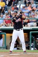 Catcher A.J. Pierzynski (15) of the Atlanta Braves bats in a Spring Training game against the New York Yankees on Wednesday, March 18, 2015, at Champion Stadium at the ESPN Wide World of Sports Complex in Lake Buena Vista, Florida. The Yankees won, 12-5. (Tom Priddy/Four Seam Images)