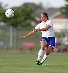 BROOKINGS, SD - AUGUST 16:  Alyssa Brazil #15 from South Dakota State University passes the ball against Winnipeg in the first half of their game Friday evening at Fischback Soccer Field in Brookings. (Photo by Dave Eggen/Inertia)
