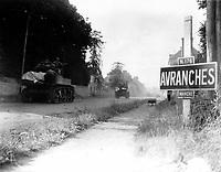 American tanks move through Avranches (Manche), France.