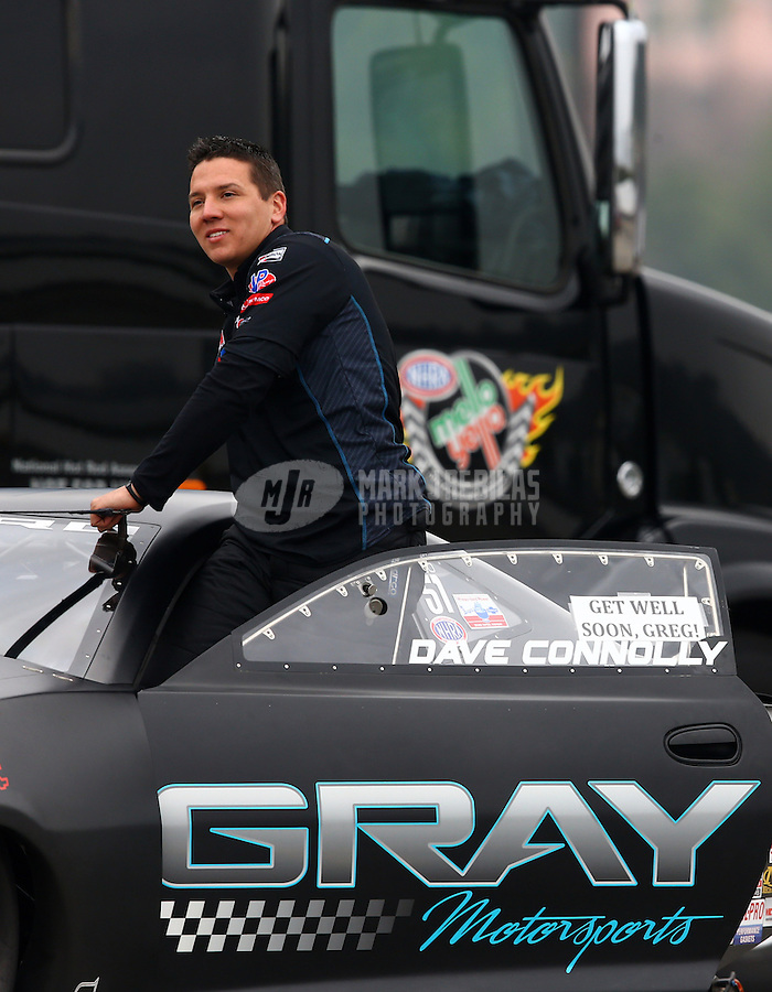 Feb 9, 2014; Pomona, CA, USA; NHRA pro stock driver Dave Connolly during the Winternationals at Auto Club Raceway at Pomona. Mandatory Credit: Mark J. Rebilas-