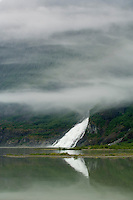 Nugget Falls flows into Mendenhall Lake near Mendenhall Glacier-Alaska, USA