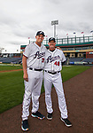 Manager Chris Cron (48) and son infielder Kevin Cron (35) during the Reno Aces 2019 Media Day at Greater Nevada Field in downtown Reno, Nevada on Monday, April 1, 2019.