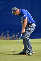 Padraig Harrington (IRL) sinks his putt on 9 during Round 2 of the Zurich Classic of New Orl, TPC Louisiana, Avondale, Louisiana, USA. 4/27/2018.<br /> Picture: Golffile | Ken Murray<br /> <br /> <br /> All photo usage must carry mandatory copyright credit (&copy; Golffile | Ken Murray)