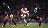 Bukayo Saka of Arsenal shot at goal during the UEFA Europa League match between Arsenal and Qarabag FK at the Emirates Stadium, London, England on 13 December 2018. Photo by Andy Rowland.