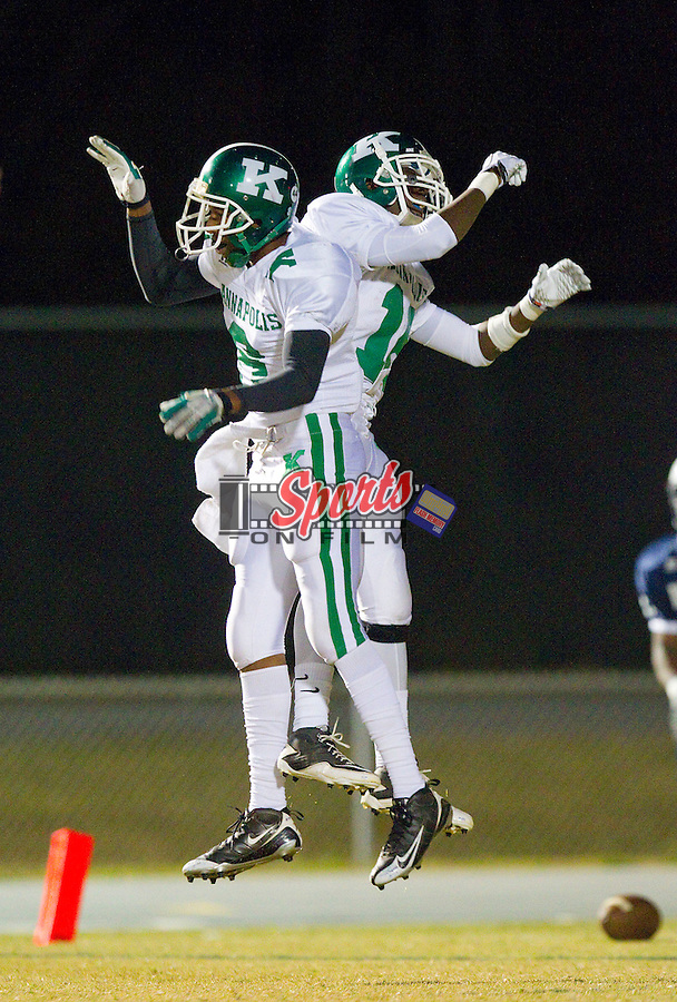 Tyrone Washington (left) and Teven Jones (right) celebrate after Jones scored on a 30-yard punt return against the Hickory Ridge Ragin' Bulls at Hickory Ridge High School on October 22, 2010, in Harrisburg, North Carolina.  The Wonders defeated the Ragin' Bulls 28-13.  (Brian Westerholt/Sports On Film)