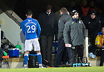 St Johnstone v Partick Thistle....17.01.15  SPFL<br /> Michael O'Halloran is sent straight to the dressing room by Manager Tommy Wright after reacting to being subbed<br /> Picture by Graeme Hart.<br /> Copyright Perthshire Picture Agency<br /> Tel: 01738 623350  Mobile: 07990 594431