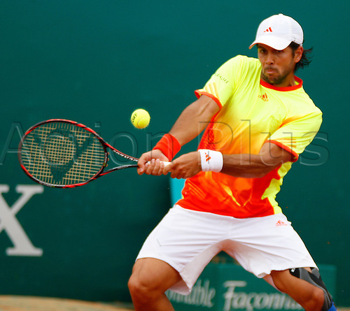 19.04.2012 Monte Carlo, Monaco. Fernando Verdasco (ESP) in action against Jo-Wilfried Tsonga (FRA) during the 3rd Round of the 2012 Monte-Carlo Rolex Masters tennis, played at the Carlo Country Club, Monaco.
