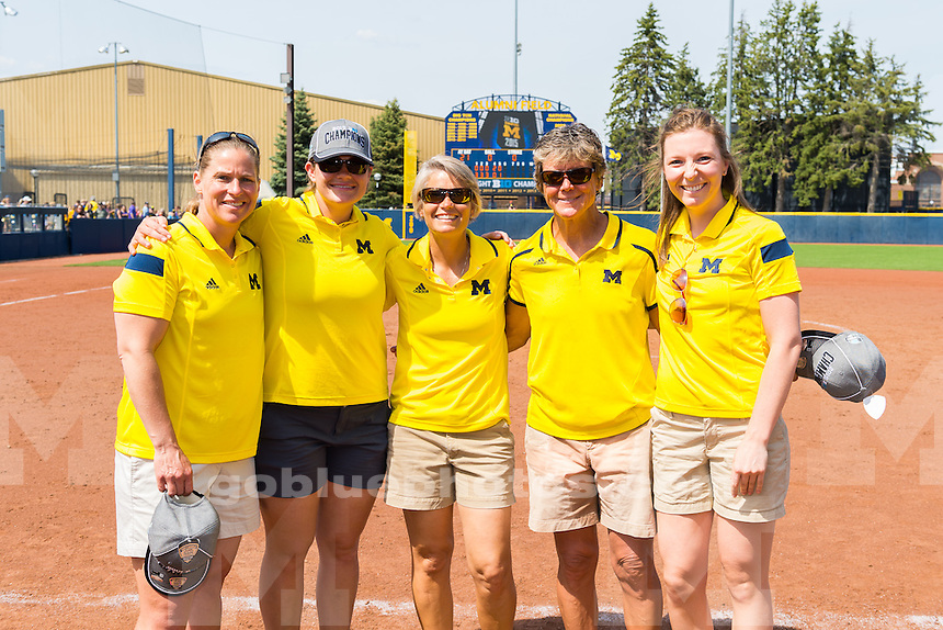 The University of Michigan softball team beats Penn State University,10-2,clinching the Big Ten title on senior day at Alumni Field in Ann Arbor on May 3, 2015.
