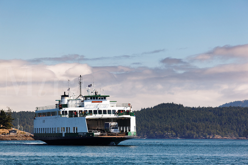 Washington State ferry MV Evergreen State arriving at Friday Harbor, San Juan County, Washington. USA