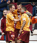 Motherwell's Marvin Johnston celebrates after scoring the opener