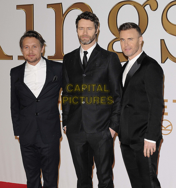 LONDON, ENGLAND - JANUARY 14: Take That ( Mark Owen, Howard Donald &amp; Gary Barlow ) attend the &quot;Kingsman: The Secret Service&quot; world film premiere, Odeon Leicester Square cinema, Leicester Square, on Wednesday January 14, 2015 in London, England, UK. <br /> CAP/CAN<br /> &copy;Can Nguyen/Capital Pictures