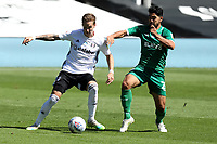 18th July 2020; Craven Cottage, London, England; English Championship Football, Fulham versus Sheffield Wednesday; Massimo Luongo of Sheffield Wednesday challenges Stefan Johansen of Fulham