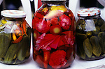 Sofia, Bulgaria. Locally made pickles; cucumber, gherkins, cabbage, peppers.