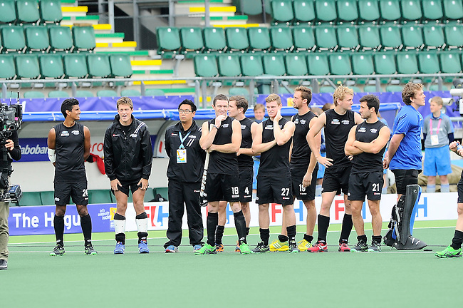 The Hague, Netherlands, June 15: Players of New Zealand lined up during the shoot-out during the field hockey placement match (Men - Place 7th/8th) between Spain and the Black Sticks of New Zealand on June 15, 2014 during the World Cup 2014 at Kyocera Stadium in The Hague, Netherlands. Final score after full time 1-1 (0-1). The Black Sticks of New Zealand win the shoot-out 1-4.  (Photo by Dirk Markgraf / www.265-images.com) *** Local caption ***
