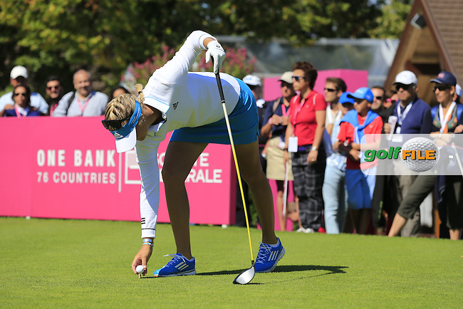 Anna Nordqvist (SWE) on the 1st tee to start her match during Saturday's Round 3 of The Evian Championship 2014 held at the Evian Resort Golf Club, Evian-les-Bains, France.: Picture Eoin Clarke, www.golffile.ie: 13th September 2014