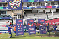 Erecting the practice nets before India vs New Zealand, ICC World Cup Warm-Up Match Cricket at the Kia Oval on 25th May 2019