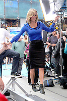 June 13, 2012 Lara Spencer on the balance beam during a segment on Good Morning America in New York City. © RW/MediaPunch Inc. NORTEPHOTO.COM<br />
